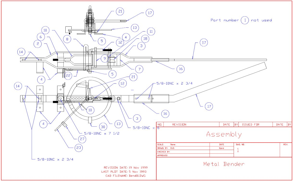 sheet metal bender plans. sheet 01, bender assembly metal plans